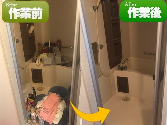 浴室に残っていたバス用品、掃除用品などをまとめて回収