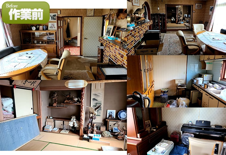 とても古い建物・置物やイスなど家具が多く残っています